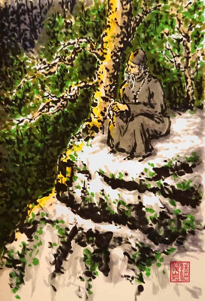 Hiermonk praying the chotki in sunny summer of Valaam
