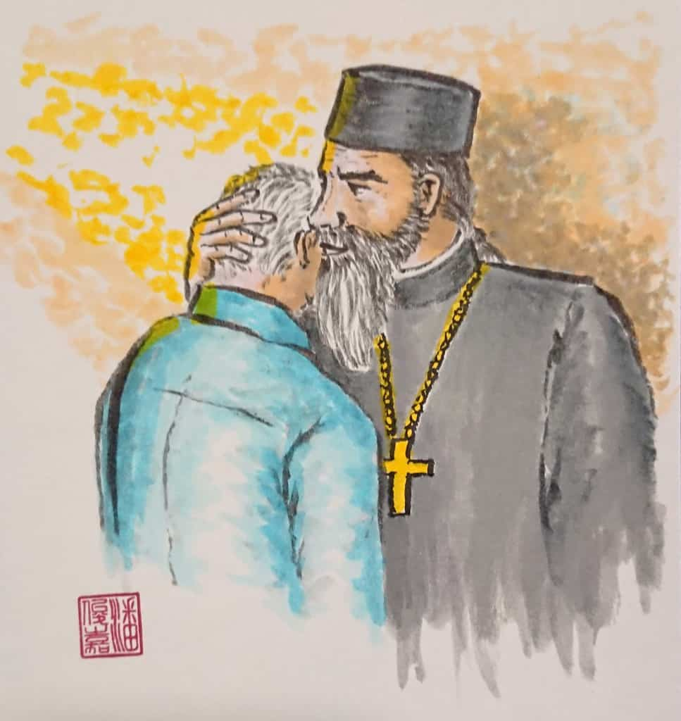 Hieromonk comforting the flock in troubling times