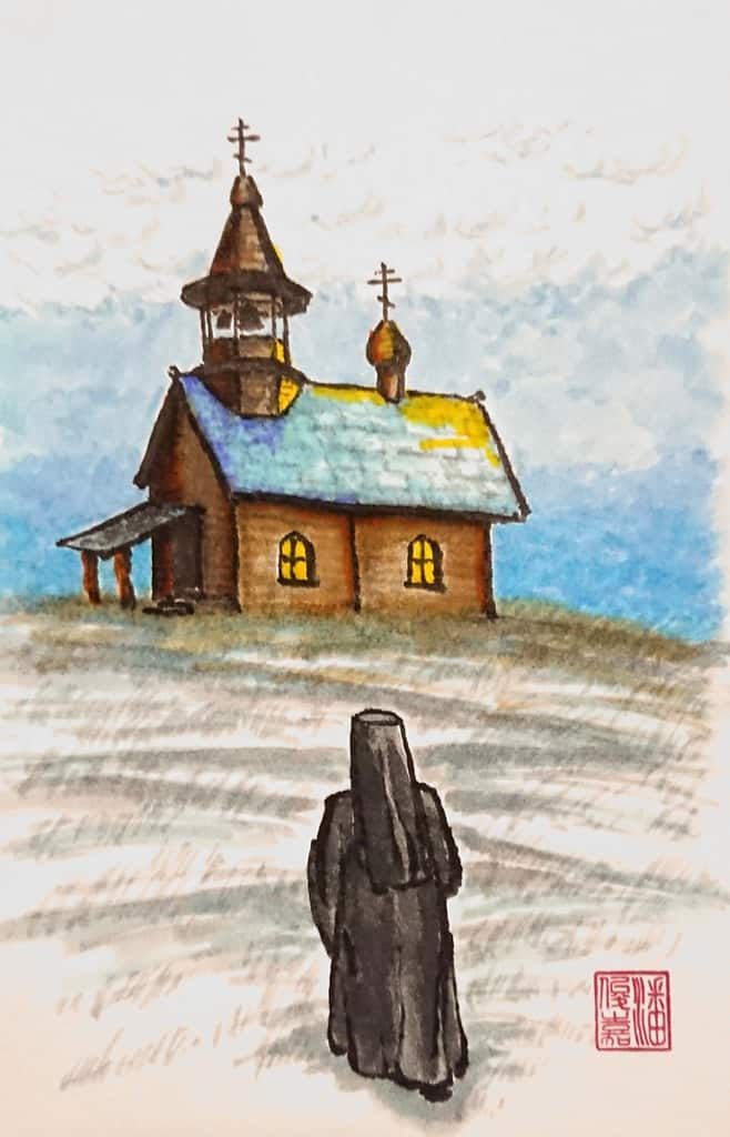 Hieromonk walking uphill to small wooden chapel