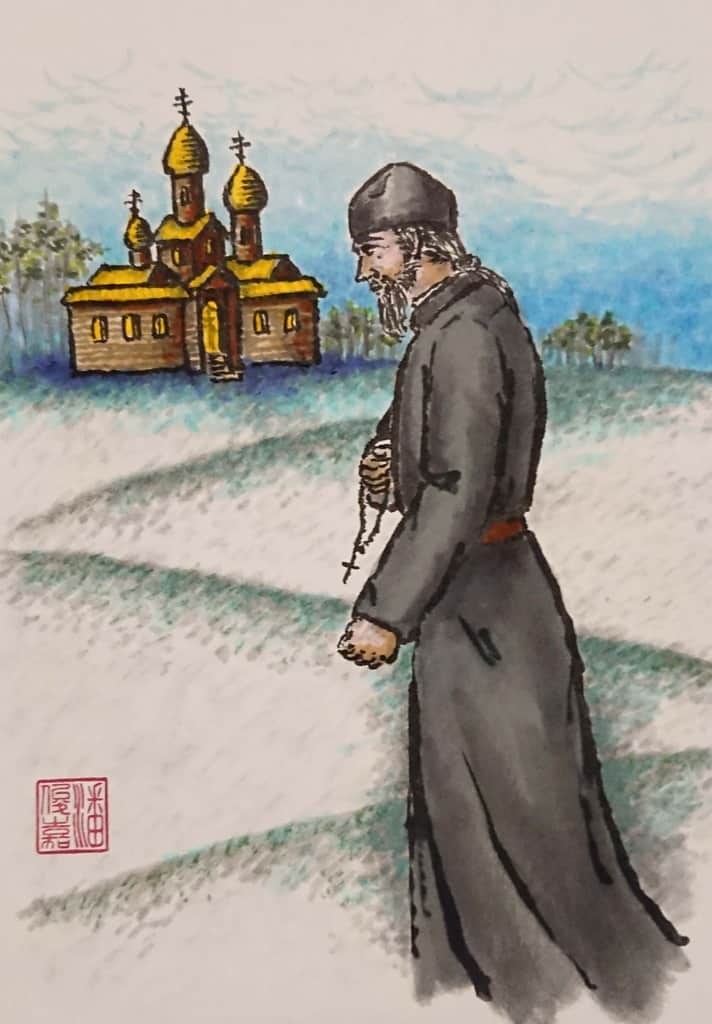 Hieromonk praying with chotki returning to monastery chapel